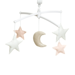 Nude silver moon and stars mobile