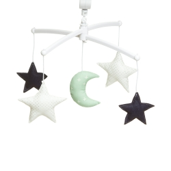 Navy green moon and stars mobile