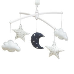 Navy white moon and stars mobile