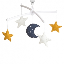 Navy mustard moon and stars mobile