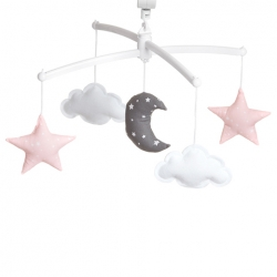 Pastel pink and grey moon and stars mobile