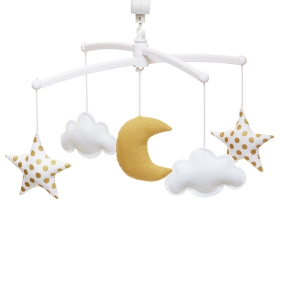 Grey yellow moon and stars mobile