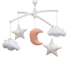 pink gold moon and stars mobile