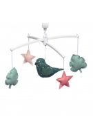 folk green and pink bird mobile