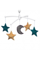velvet green and mustard moon and stars mobile