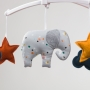 Grey and confettis elephant mobile