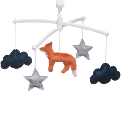 navy and grey musical mobile fox