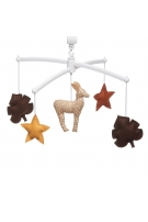 mustard and brown musical mobile fawn